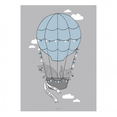2d1fb93f Plakat - Bloomingville - Bjørn i luftballon 70x50 KUN Kr. 85,-