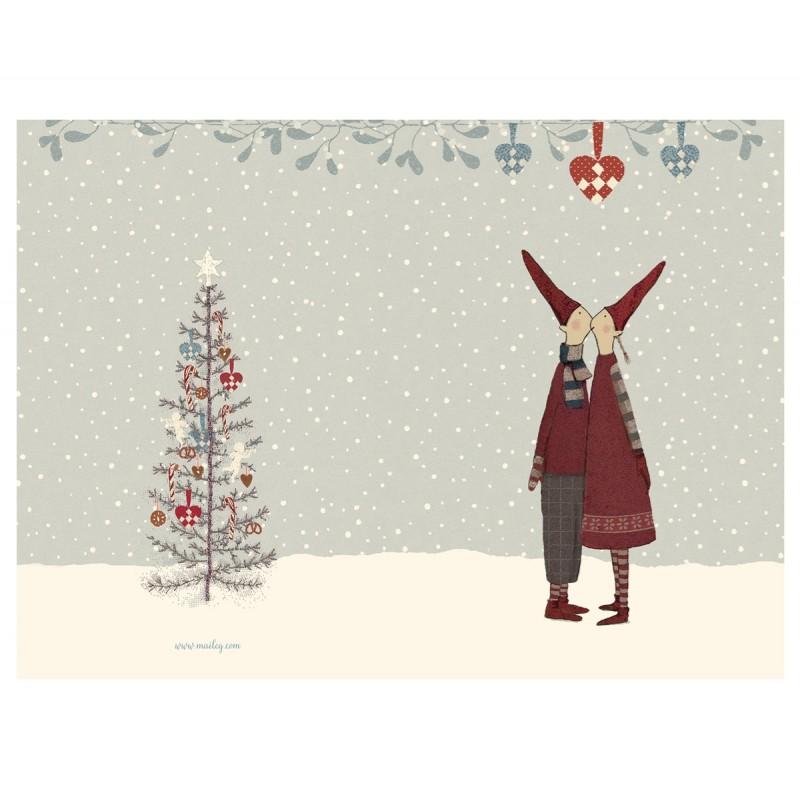 """Maileg - dobbelt kort """"nissekys under julehjerte"""""""