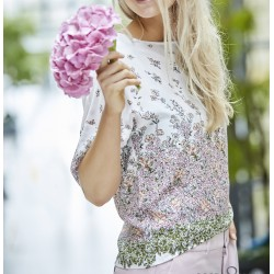 Bluse - Råhvid m/ blomster - Costamani