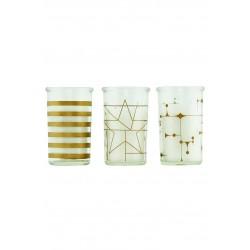 Lys i glas - House Doctor - Guld design - 3 forskellige