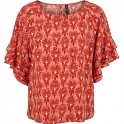 Bluse - Prepair - Rød/Orange m/ mønster