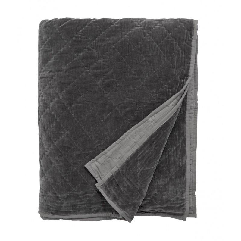 Image of   Sengetæppe velour quiltet mørkegrå - nordal 220x270