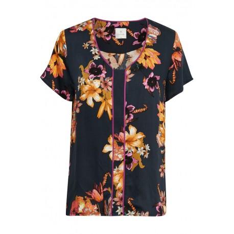 """Bluse / T-shirt - Culture """"Inis"""" - Mørkeblå m/ blomster"""