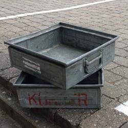 Zink kasse Kvadratisk m/ håndtag - gammel Fransk