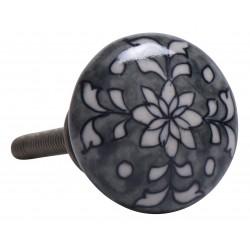 Greb, porcelæn i grå m/ blomster mønster - Ib Laursen