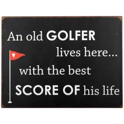 "Metalskilt ""An old Golfer Lives here "" - Ib Laursen"