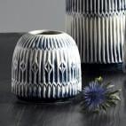 Vase - Nordal - Blå / Hvid m/ riller