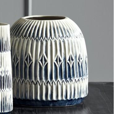 Vase - Nordal - Blå / Hvid m/ riller - Stor