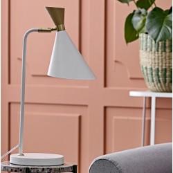 Bordlampe hvid m/ Træ top - Bloomingville