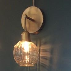 Væglampe - Nordal - Messing m/ mønsteret glas