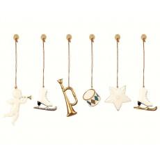 Ornamenter i metal - Maileg 6 stk. guld og hvid