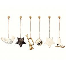 Ornamenter i metal - Maileg 6 stk. guld og hvid - Ny