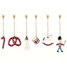 """Ornamenter i metal - Maileg 6 stk. rød """"Classic"""""""