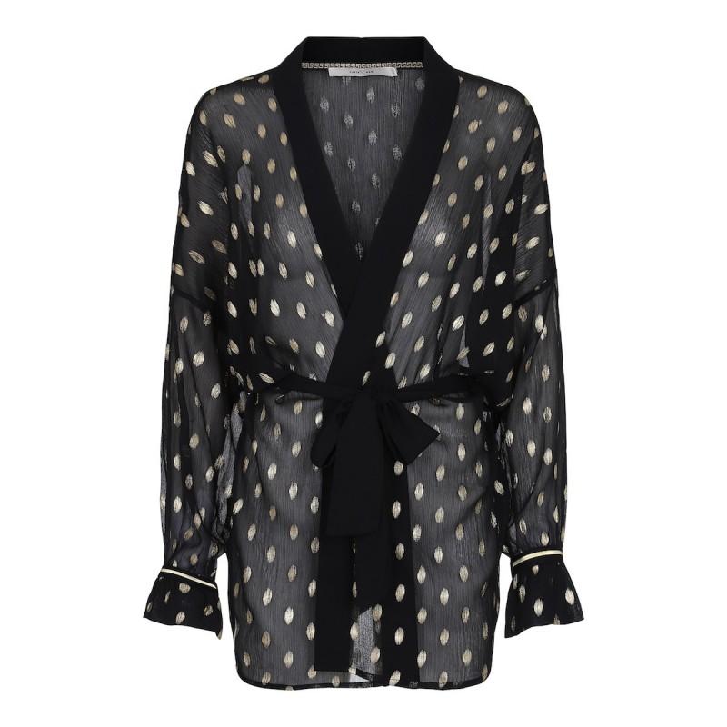 "Kimono Sort m/ guld mønster ""Nora"" - Costamani"