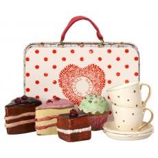 Te og kage sæt - Maileg - Lyserød m/ guld prikker