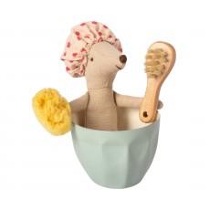 Mus i badekar m/ svamp og børste - Maileg