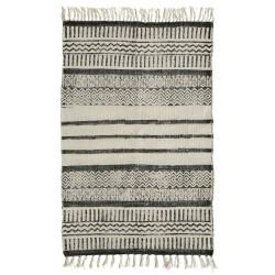 Tæppe m/ mønster og striber i råhvid og gråsort - Nordal