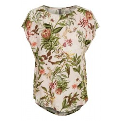 "Bluse / T-shirt - Rosa m/ blomster - Culture ""Sidra"""