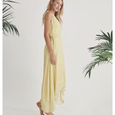Kjole gul m/ gråt mønster - Culture