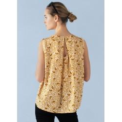 Bluse u/ ærmer - Saint Tropez m/ gult mønster