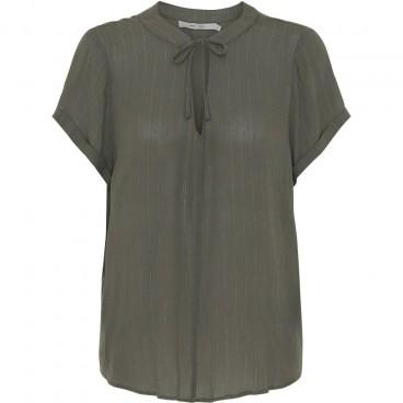 "Bluse / T-shirt Army m/ guld striber  - Costamani ""Helen"""