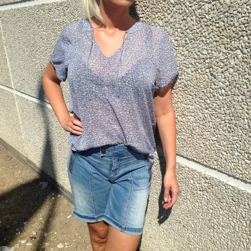 """Bluse / T-shirt blå m/ bladmønster  - Costamani """"Ba Helen"""""""