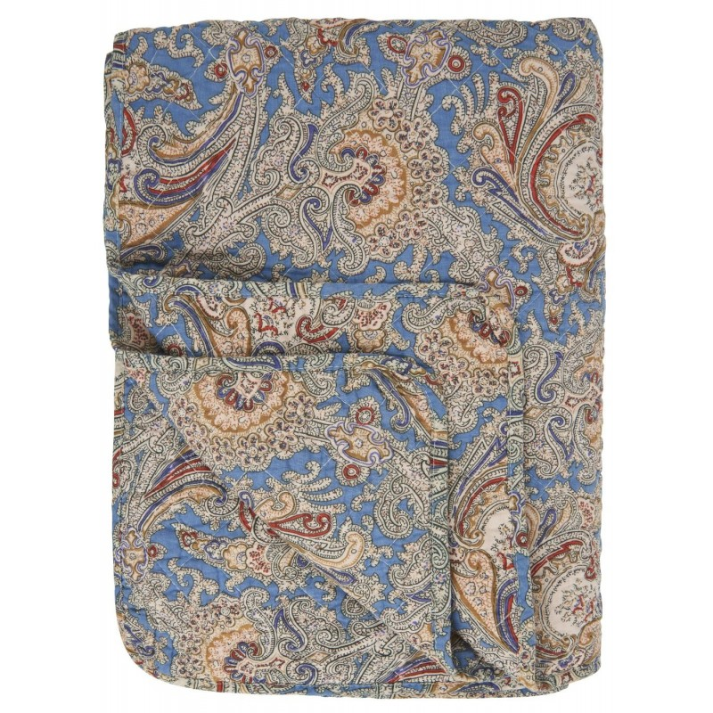 Quilt / Vattæppe blå m/ brun paisley - Ib Laursen