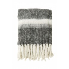 Blanket, grey stripes, mohair look