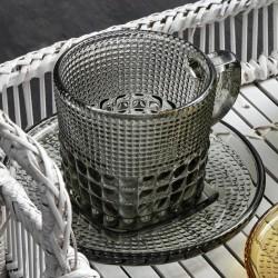 Glass cup w/saucer, smoke color