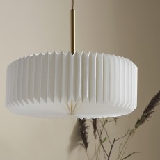 PRETTY PLEATS hanging lamp, white/gold