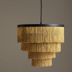 Hanging lamp w/fringes, golden, black