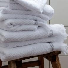 MK, 4C, Towel, 70x140 cm, White w. grey stripes, O