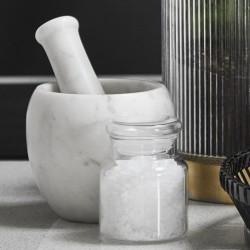 Mortar w/pestle, white marble