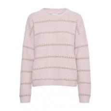 Striktrøje rosa m/ guld striber - Saint Tropez