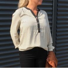 Bluse råhvid m/ rib ærme - Saint Tropez