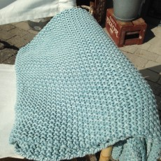 Plaid Lys Blå - Ib Laursen - strikket tæppe
