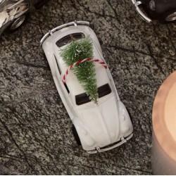 HD, 12C, Decoration, MINI Xmas car, Whitel: 8.5 cm