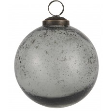 Julekugle i mundblæst glas Grå - Ib Laursen - D: 9,5 cm