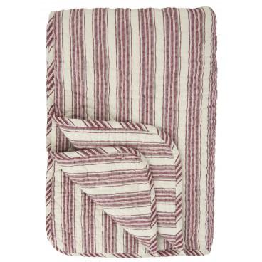 Quilt/vattæppe m/ røde & grå striber - Ib Laursen