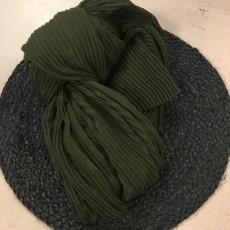 Tørklæde m/ riller army grøn - Birksøe