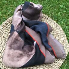 Tørklæde m/ Army grøn/ rust/ sort mønster - Birksøe