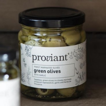 Oliven grønne m/ hvidløg Proviant - Ib Laursen