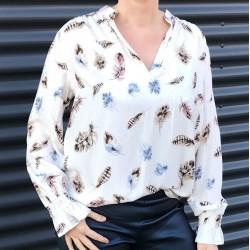 Skjorte / Bluse m/ fjer mønster - Costamani