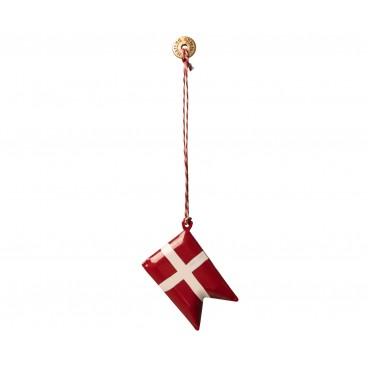 Maileg - Metal ornament - Dannebrog m/ rød & hvid snor