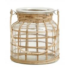 Lanterne / lygte glas m/ bambus - Nordal - Lille