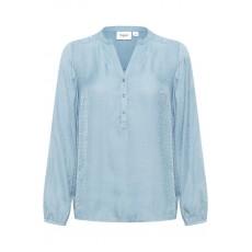 Bluse / Skjorte m/ lange ærmer - Støvet blå - Saint Tropez