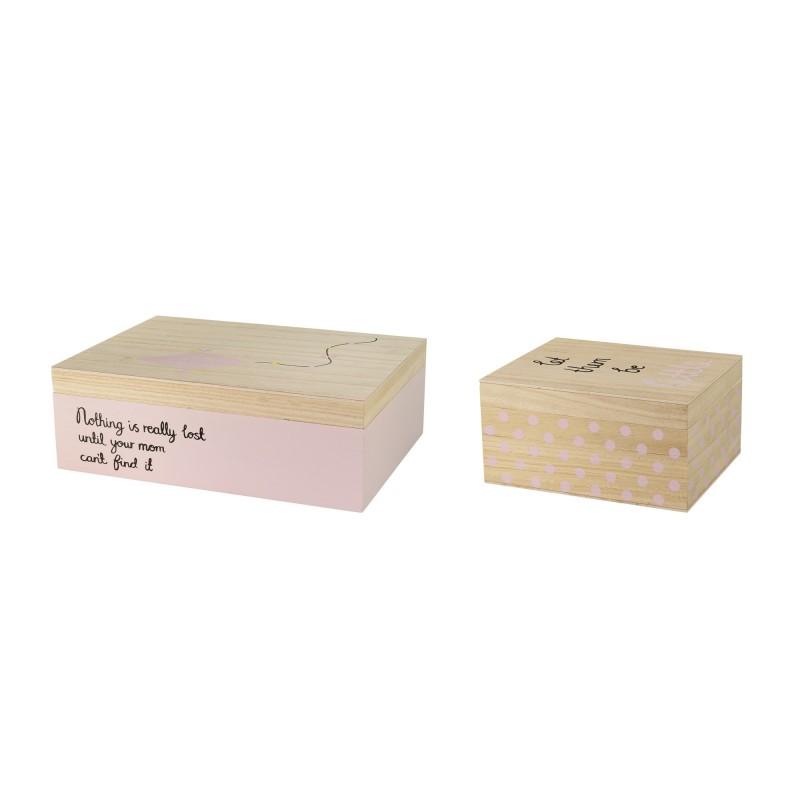 Opbevaringskasse m/ låg lav - lyserød - bloomingville, vælg ml. 2 størrelser
