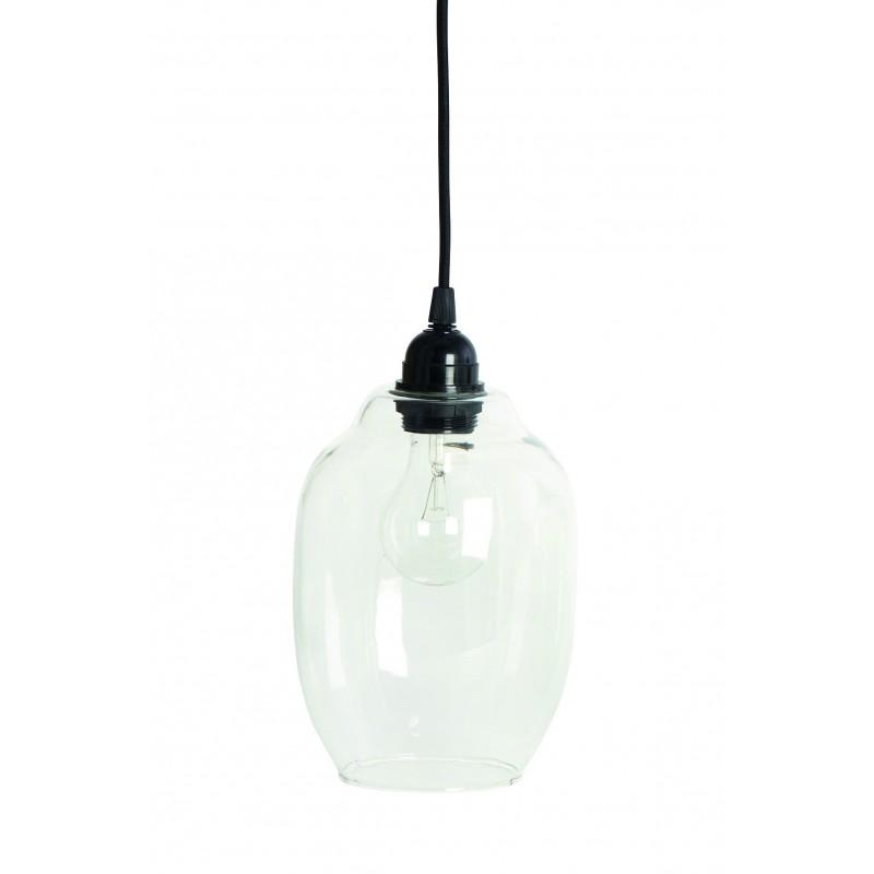 """Lampe, lille m/ klar glasskærm - house doctor, m/ sort ledning """"goal"""""""