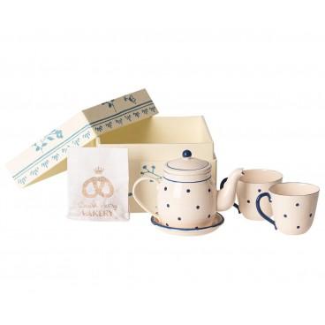 Te og kage sæt - Maileg - Creme hvid m/ blå prikker
