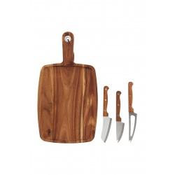 Skærebræt og osteknive, sæt á 4 stk., 39x21 cm, h.: 1,5 cm, akacietræ/rustfri stål